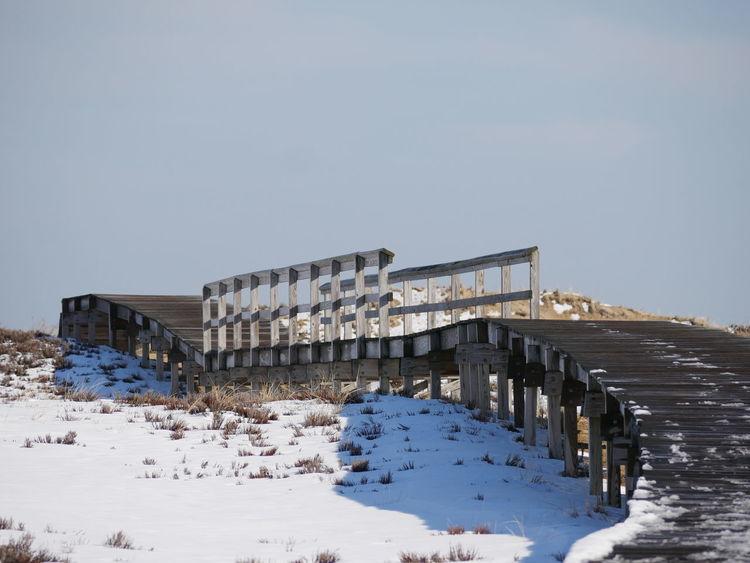 Cold Temperature New England  Ocean Outdoors Sand Scenery Scenic Sky Snow Walkway Walkways  Winter