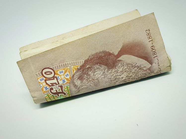 No People Close-up Day English Currency Ten Pounds Tenner Paper Money Money Studio Shot