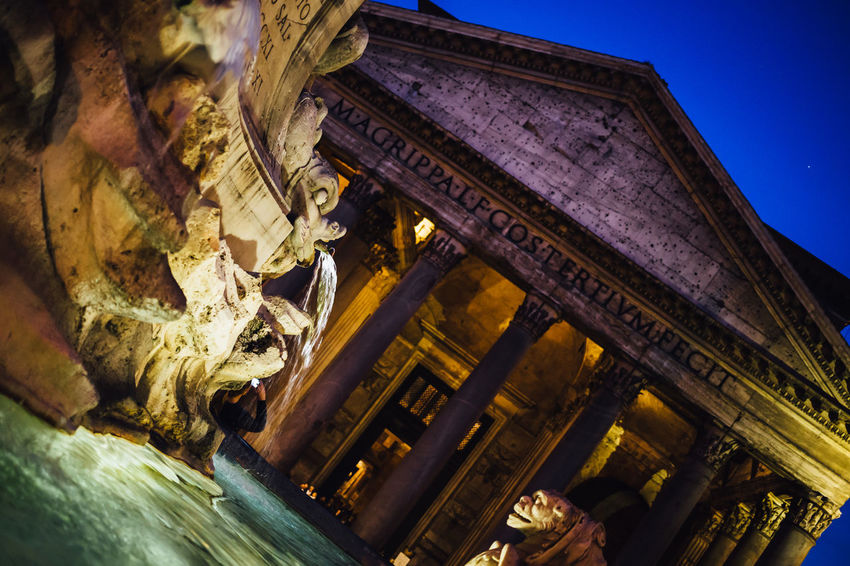 Ancient Fountain Historical Monuments Moving Around Rome Pantheon Piazza Della Rotonda Roman Temple Travel Architecture Building Exterior Built Structure History Low Angle View Monument Night No People Roman Sculpture Statue Tourism Travel Travel Destinations Water