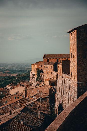 Montepulciano city wall at sunset