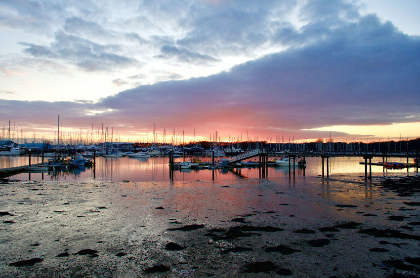 River Hamble at sunset Beach Beauty In Nature Cloud - Sky Moored Nature Nautical Vessel No People Outdoors Power Boats River Hamble Scenics Sky Sunset Tranquil Scene Tranquility Transportation Water Yachts