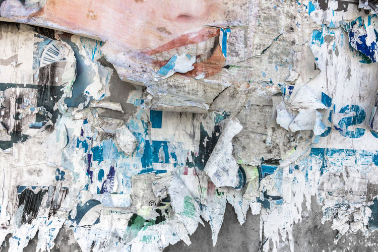 Old torn posters. Grunge poster wall of an a old show. Advertising Circus Colourful Cut Decay Graphic Poster Retro Abstract Advertisement Art Background Billboard Closeup Color Concept Damaged Design Destroyed Grunge Newspaper Old Paper Pattern Peeling