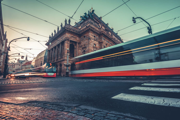 Blurred Motion Of Tramway On Road In City