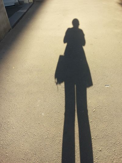 High angle view of silhouette shadow on street