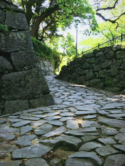 at Fukuoka castle Castle EyeEm Gallery From My Point Of View IPhoneography No People Road Of Castles Rock - Object Stone - Object Stone Material Taking Photos The Way Forward Traditional Japanese  Historical Architecture