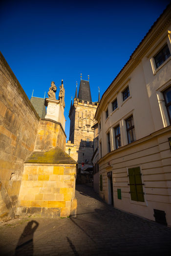 Czech Republic Prague Architecture Belief Blue Building Building Exterior Built Structure City Clear Sky Direction History Low Angle View Nature No People Outdoors Place Of Worship Religion Sky Spirituality The Past Tower Yellow