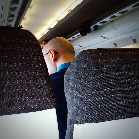 Baldhead Bald Head Train Passenger Commuter Portrait From Behind