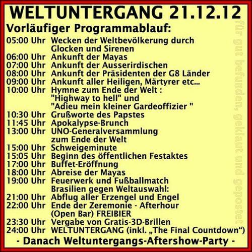Tagesablauf plan am 21.12.2012 Fun Spaß Spass Spaßbilder