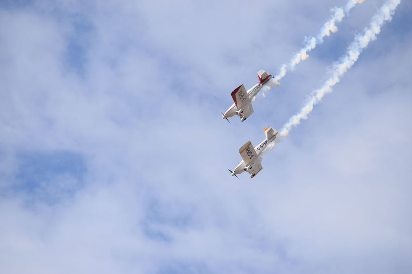 Southport Airshow 2016 Flying Stunt Planes Blue Sky Cloudy Mid-air Smoke Trails Descending