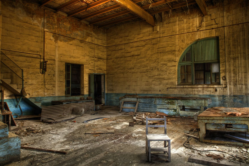 Empty Abandoned Architecture Built Structure Chair Damaged Day Destruction Indoors  No People Rubble Window Wood - Material