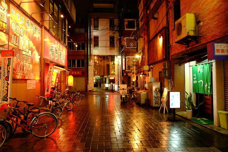 Exploring the random streets of Kagoshima in Japan Streets Night Shot Bikes Street Lights Japan Kagoshima Nightwalk Travel Explore Backpacking