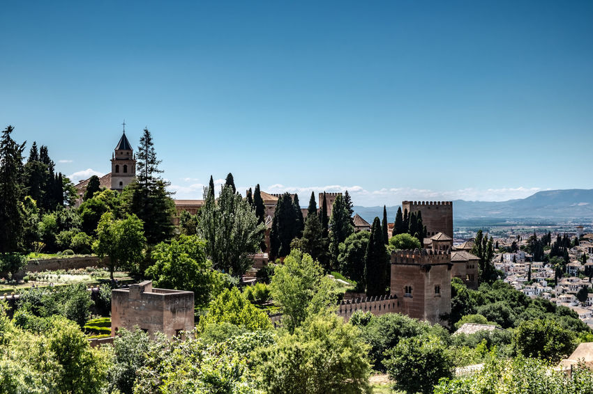 Alhambra (Granada) Alhambra De Granada  Granada Granada, Spain Alhambra Architecture Building Building Exterior Built Structure City Clear Sky Copy Space Day History Landscape Nature No People Outdoors Place Of Worship Plant Religion Sky The Past Travel Travel Destinations Tree