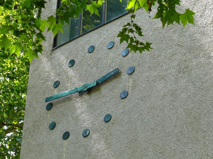 High angle view of ball on wall