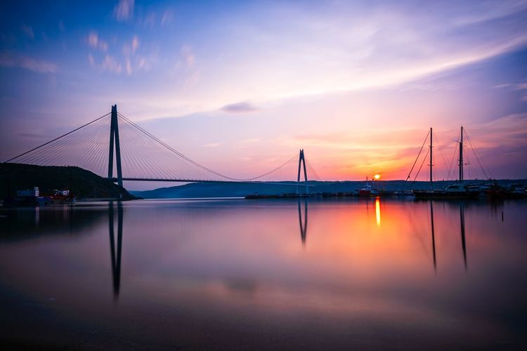 Yavuz Sultan Selim bridge Marmara Sea Istanbul City Long Exposure EyeEm Selects Sky Water Bridge Bridge - Man Made Structure Connection Transportation Reflection Cloud - Sky Sunset Architecture Built Structure Beauty In Nature Suspension Bridge Engineering Travel Destinations Nature Dramatic Sky City Outdoors Bay