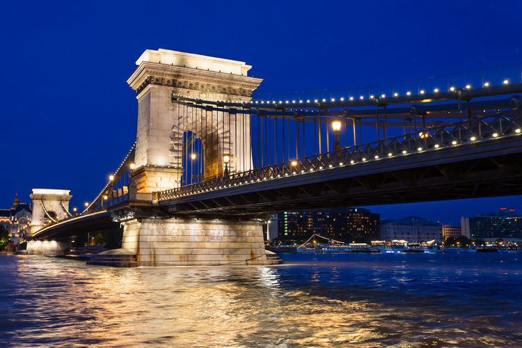 Illuminated szechenyi chain bridge over river danube at night