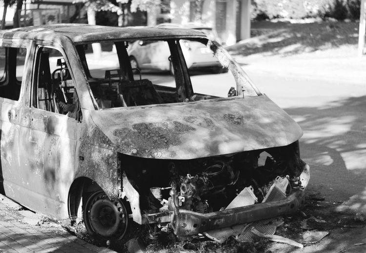Burned car in