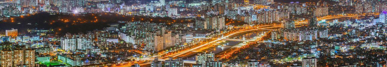 Seoul Korea City Night Landscape Cityscape Night View Nightscape Panorama
