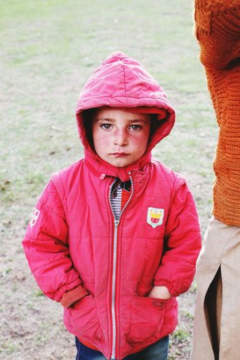 "North Pakistan ""Fairymedows "" Gilgit baltistan Portrait Child Childhood Looking At Camera Standing Warm Clothing Front View Close-up"