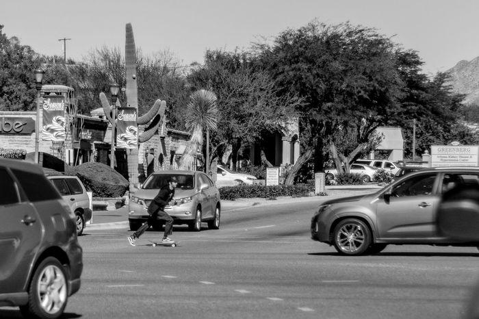 Arizona Brave City Life Double Fisted Mad Skills Skate Skateboard Skateboarding Skaterboy Skills  Sonoran Desert The Way Forward Traffic Traveling Tucson United States Urban Drinks Multitasking Multitalented Skate Or Die B&w Street Photography