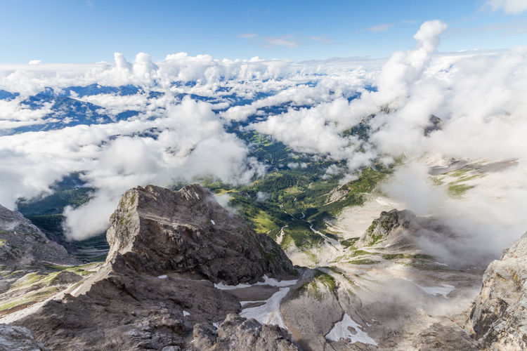 Aerial view of dramatic landscape over cloudy sky
