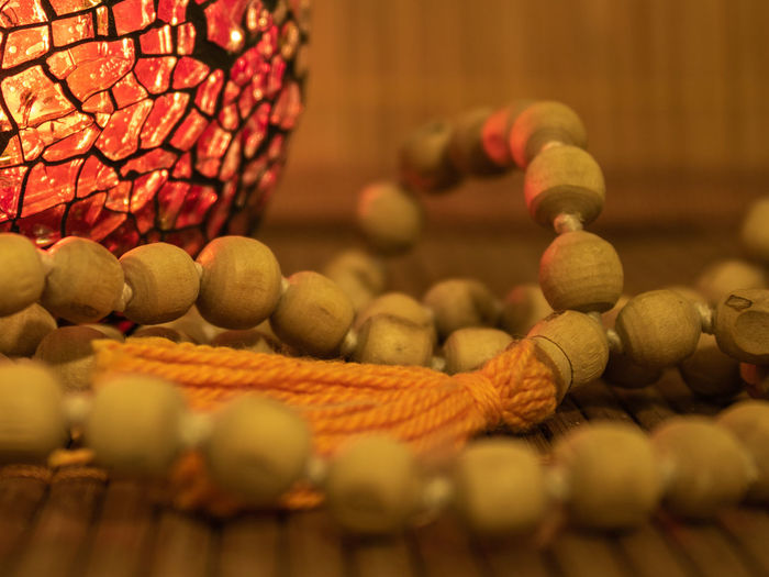 Prayer Beads Mala Beads Warm Light Yoga Zen Meditation Meditation Time Meditation Place Selective Focus Indoors  Large Group Of Objects Close-up No People Still Life Food And Drink Food Abundance Rope Basket Focus On Foreground Bead Wood - Material Yellow Art And Craft Freshness Thread Man Made