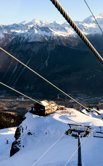 Chalet Crans Montana Crans-Montana Cransmontana Day Funicular Mountain Mountain Range Nature Outdoors Overhead Cable Car Ski Ski Holiday Ski Lift Skiing Sky Snow Winter Flying High The Great Outdoors - 2017 EyeEm Awards
