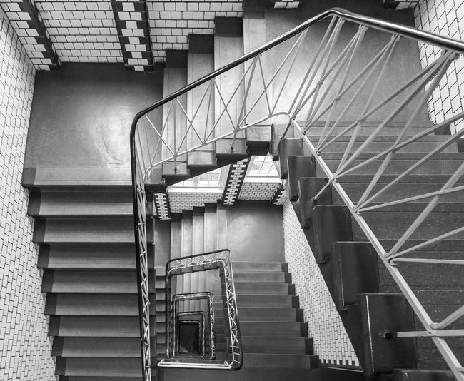 Black And White Urban Best Of Stairways Reflection Old Spiral Architecture Built Structure Staircase Steps And Staircases Railing Low Angle View Building Exterior No People Building Day Metal Spiral Staircase Outdoors Pattern Wall - Building Feature Fire Escape Accidents And Disasters Directly Above Ceiling