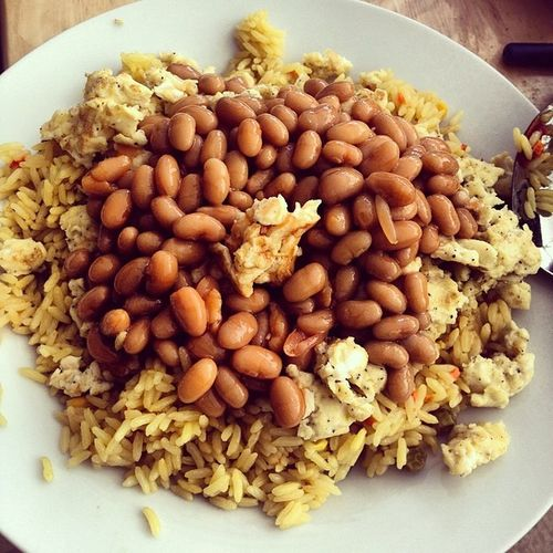 VegetableRice 4 Eggs Beans delicious LunchOfTheChampions TooGoodForAMillionHashTags ChefRamseyPissOff