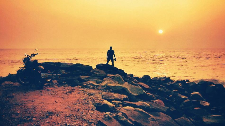 """"""" A man's pefect evening?"""" Setting sun, seashore and a Motorcycle... Motorcycles Setting Sun Golden Hour"""