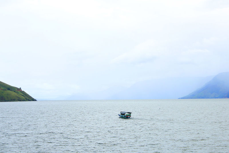 Boat on lake toba, north sumatra, indonesian.