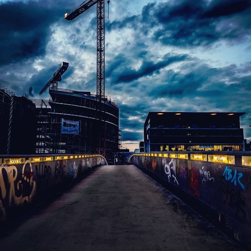 Bridge Bridge Frankfurt Am Main Sky Cloud - Sky Architecture Nature Built Structure Industry Transportation Building Exterior City Construction Industry Machinery The Way Forward Crane - Construction Machinery Outdoors Dusk Illuminated Diminishing Perspective Road No People Direction