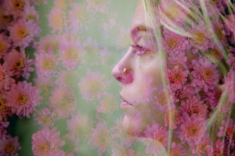 Layered image of Reese Ashlynn with some flowers. I love the double exposure retro film vibe! Atmospheric Mood Beautiful Bohemian Double Exposure Ethereal Experimental Fantasy Film Flowers Girl Inspiration Love Magic People Pink Portrait Pretty Retro Surreal Tumblr Utah Vintage Woman Composite Layers And Textures Millennial Pink
