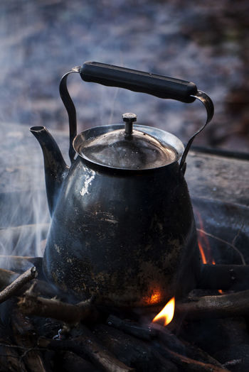 Close-Up Of A Kettle On Chulah