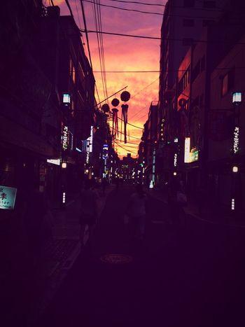 Sunshine Orange Colorful Streetphotography Neon Light And Shadow Contrast Street Night Lights Walking Around