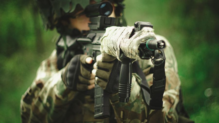 Airsoft man outdoors