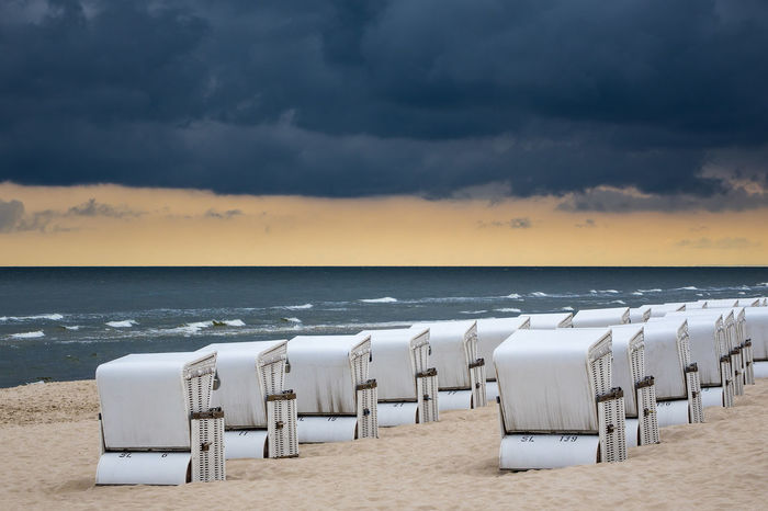 Beach chairs on the Baltic Sea coast. Baltic Sea Holiday Travel Zinnowitz Beach Beach Chairs Beauty In Nature Coast Day Horizon Over Water Nature Outdoors Sand Scenics Sea Shore Shoreline Sky Tourism Tranquil Scene Tranquility Usedom Vacation Water Waves