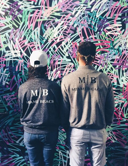 Happiness Rear View Two People Casual Clothing Togetherness Real People Standing Lifestyles Outdoors Couple Cute Miami Florida Miami Beach Standing Beautiful EyeEmNewHere Beautiful People Relationship Millennial Pink Art Is Everywhere