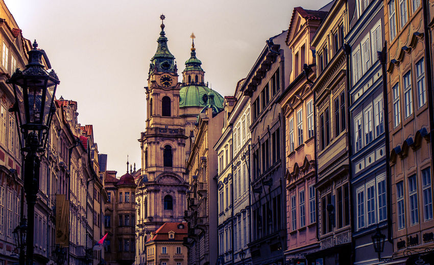 Building Exterior Architecture Built Structure Building City Religion Place Of Worship Sky Low Angle View Spirituality Travel Destinations Belief Nature The Past Tower History No People Residential District Outdoors Clock Spire  Colors Prague Streeetphotography