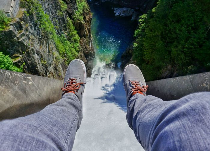 Long way down 👇 EyeEmNewHere Low Section Water Shoe Adventure Personal Perspective River Waterfall Flowing Water Falling Water Stream Rock - Object Power In Nature Footwear Splashing Flowing Rapid First Eyeem Photo Go Higher
