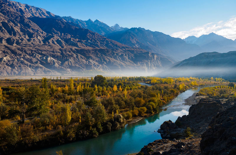 Fog Scenics Mountain Landscape Sunset Morning Nature Beauty In Nature Pinaceae Tree Mountain Peak Dawn Pine Tree Panoramic No People Rural Scene Autumn Outdoors Mountain Range Springtime Gahkuch Gilgit-Baltistan Landslide Pakistani Traveller Autumn🍁🍁🍁 autumn
