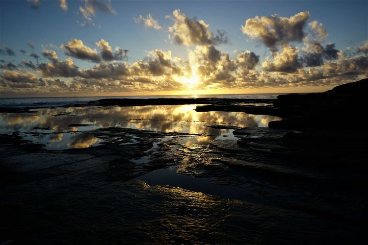Just the sunrise and I, a time to reflect. Sky Reflection Non-urban Scene Beach Land Sea No People Water Cloud - Sky