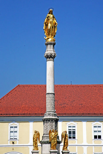 St Marys Monument By Zagrebs Cathedral Against Clear Blue Sky