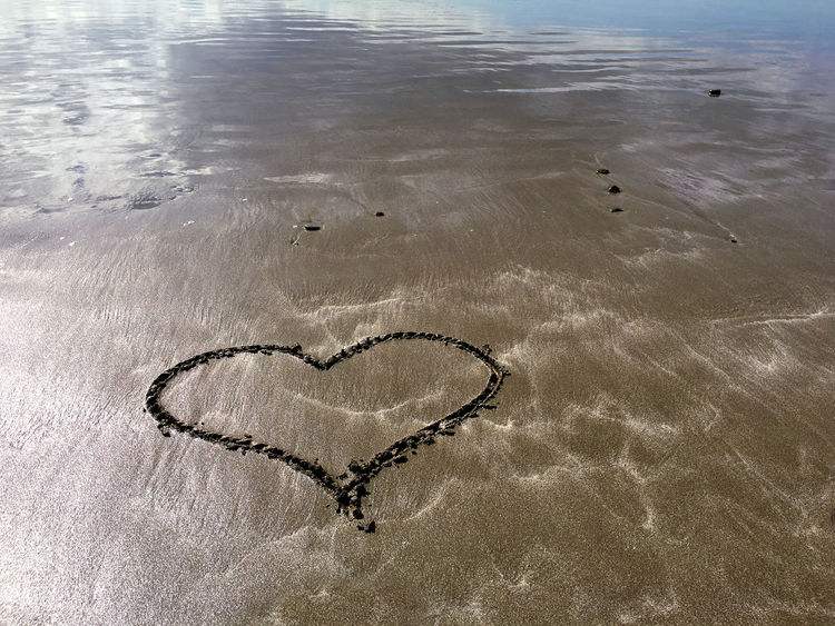 Beach Beauty In Nature Close-up Day Drawing - Activity Drawings Drawn Handmade Heart Shape Heart Shaped  Love Nature No People Ocean Outdoor Outdoors Relationship Rocks Romance San Sand Sea Water