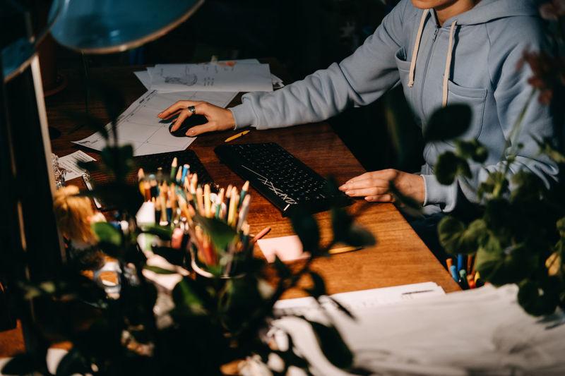 Small business owner, designer workplace. female designer, sewing studio owner, creative studio