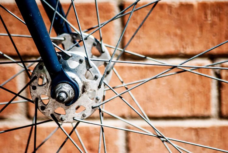 Close-up of bicycle wheel spokes