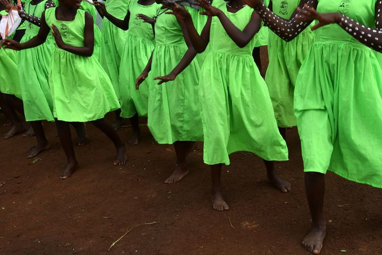 Mpara Uganda Girls School Celebration Event Low Section Togetherness Tradition Dancing Green Color Traditional Dancing Traditional Clothing Human Leg Footwear Human Foot This Is My Skin