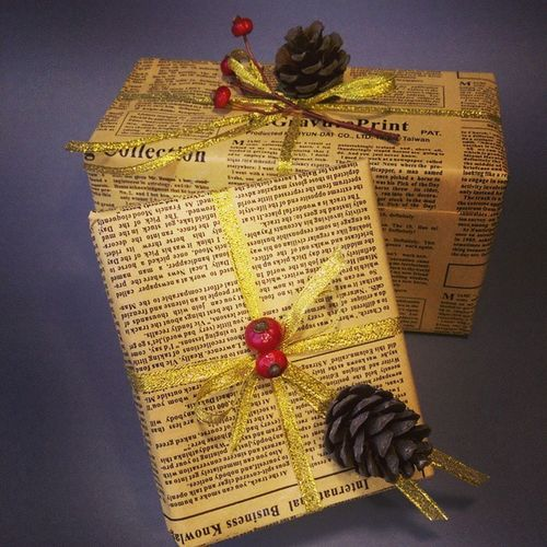 Wrap Gift Pine Baies Christmas idea lovely present newspaper Something to please
