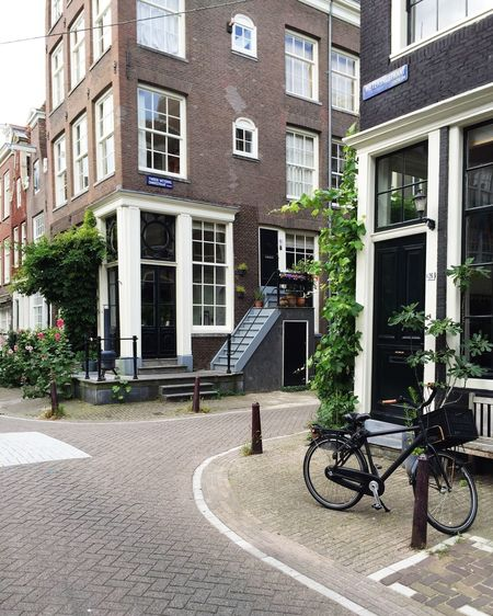 Amsterdam Amsterdam Houses Amsterdamcity Architecture Bicycle Building Exterior City City City Life City Life City Street Cycling Day Door Doorporn Flowers Green Green City Greenery House No People Outdoors Street Street Corner Urban Greenery