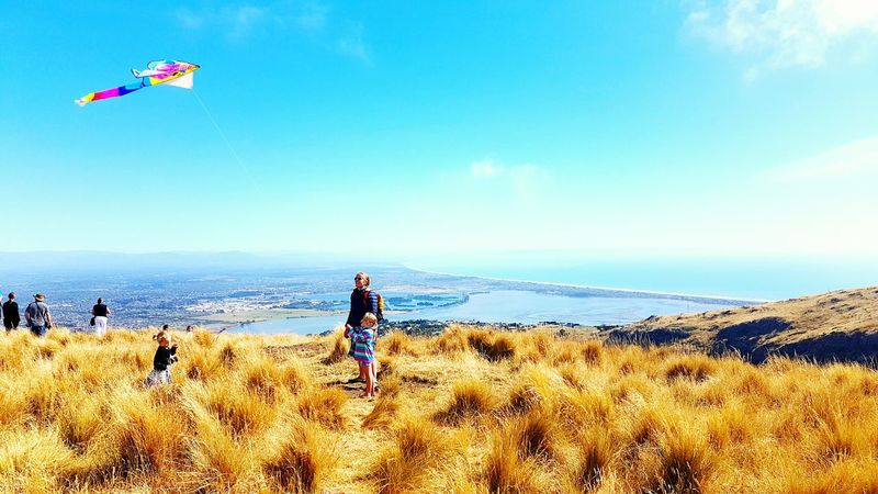 Christchurch New Zealand Mountain View Sea View Harbour View Kite Kiteflying Childdreams Childhood Memories Dream Higher Family❤ Family Matters Nature Sky Day Outdoors Vacations Blue Skies ⛅ Blue Sea,blue Sky Christchurch Gondola Wondering The World Sweet Memories!