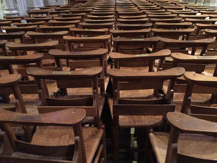 Absence Abundance Arrangement Backgrounds Chair Day Empty Full Frame Furniture In A Row Large Group Of Objects No People Repetition Seat Side By Side Wood - Material Wooden Chair